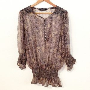 Zara Basic Sheer Paisley Long Sleeves Top